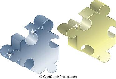 vettore, pezzi, di, puzzle