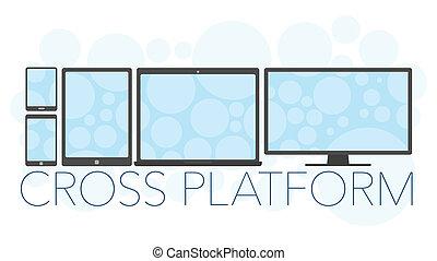 vettore, piattaforma, concetto, croce, illustrazione