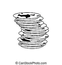vettore, piatti, segno., piatto, pietanza, sporco, icon., illustrazione