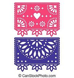 vettore, picado, sagoma, set, forme, papel, messicano, due, carta, disegno, decorazioni, festa, geometrico, fiori, bandiere