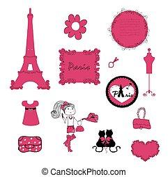 vettore, piccolo, paris., dettagli, pink.