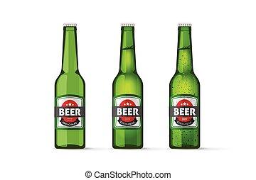 vettore, pieno, bottiglie, isolato, realistico, birra, oggetti, verde, bottiglia, freddo, vuoto