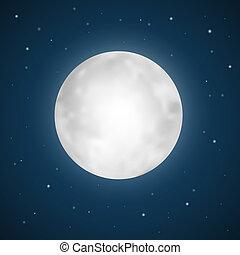 vettore, pieno, stelle, illustrazione, luna