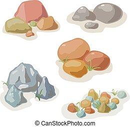 vettore, pietra, set, collezione, roccia