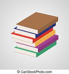 vettore, pila, multi, books., colorato, illustrazione