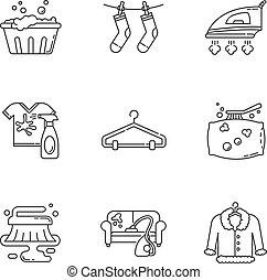 vettore, pixel, pulizia, washateria, vapore, service., contorno, symbols., lavaggio, colpo, bucato, vestiti, lineare, moneta, illustrations., perfetto, linea, editable, magro, icone, isolato, set., contorno, customizable
