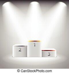 vettore, podio, vincitori, illuminato, palcoscenico