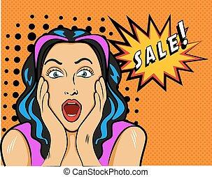 vettore, pop, illustrazione, segno., arte, vendita, stile, donna
