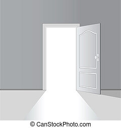 vettore, porta, aperto