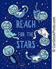 vettore, portata, space., gatti, stelle, stampa