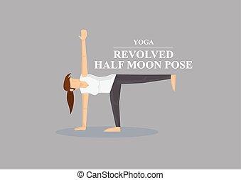 vettore, posa yoga, illustrazione, luna, asana, mezzo, revolved