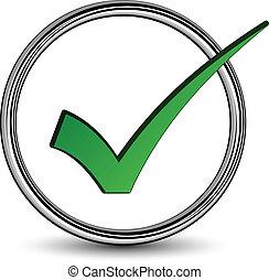 vettore, positivo, checkmark