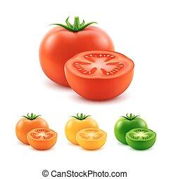 vettore, prange, set, maturo, grande, su, giallo, isolato, taglio, verde rosso, fondo, fresco, chiudere, bianco, intero, pomodori