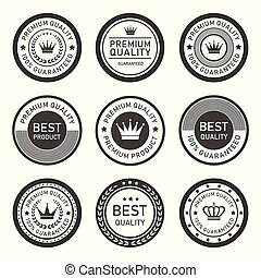 vettore, premio, etichette, qualità, sigillo