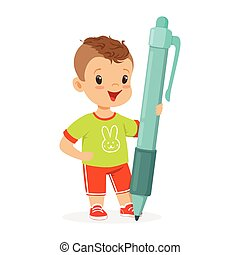 vettore, presa a terra, carino, poco, cartone animato, gigante, ragazzo, penna, illustrazione, sorridente, blu