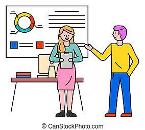 vettore, presentazione, seminario, relazione, affari
