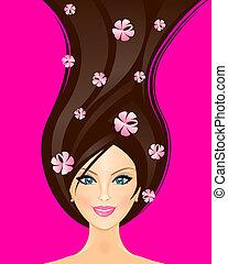 vettore, primavera, donna, illustrazione