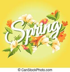 vettore, primavera, illustrazione