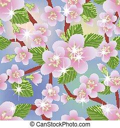 vettore, primavera, seamless, illustrazione, fondo, sakura, floreale