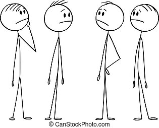 vettore, problem., cartone animato, gruppo, circa, o, uomini affari, lavoro squadra, illustrazione, brainstorming, uomini, pensare, concept.
