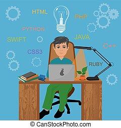 vettore, programmazione, illustrazione