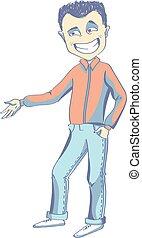 vettore, proposta, giovane, illustrazione, uomo
