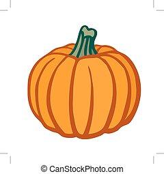 vettore, pumpkin., isolato, image., appartamento, object.