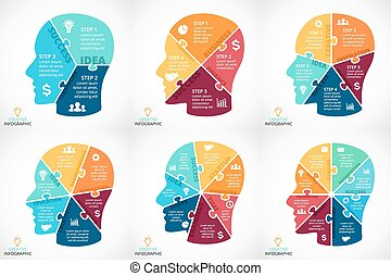 vettore, puzzle, faccia umana, infographic., ciclo,...