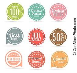 vettore, qualità, set, etichetta prodotto, colori, illustrazione, retro, vendita