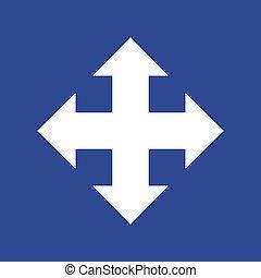 vettore, quattro, icona, frecce, directions., eps10