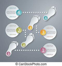 vettore, quattro, infographic, passi, template., 3d