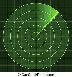 vettore, radar, schermo