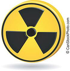 vettore, radiation., 3d, segno