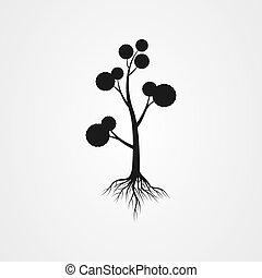 vettore, radici, albero, illustrazione