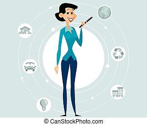 vettore, ragazza, moderno, giovane, illustrazione