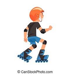 vettore, ragazzo, cartone animato, rollerblading, ...