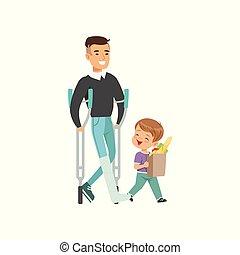vettore, ragazzo, poco, concetto, shopping, invalido, creanza, illustrazione, porzione, buono, bambini, fondo, portare, sacchetto bianco, uomo