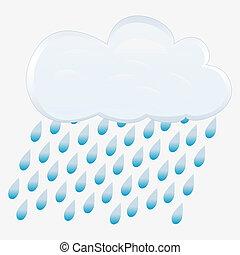 vettore, rain., icona