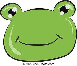 vettore, rana, disegno, faccia, sorridente, o, colorare, illustrazione