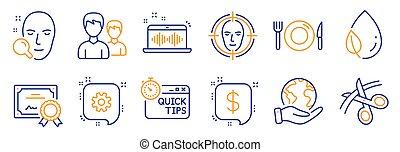 vettore, rapido, forbici, tale, foglia, tips., affari, rugiada, set, icone