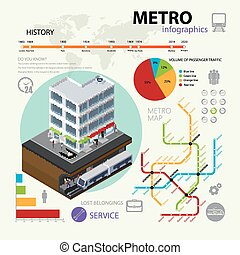 vettore, rapido, set, elements., illustrazione, infographic, trasporto