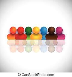 vettore, rappresenta, scuola, concetto, colorito, &, media, riunioni, persone, comunità, anche, grafico, icons., insieme, impiegato, comunità, bambini, bambini, sociale