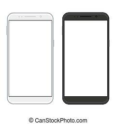 vettore, realistico, bianco, smartphones, moderno