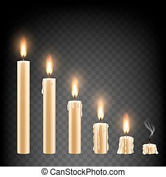 vettore, realistico, urente, candela, icona, set