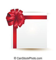 vettore, regalo, con, arco rosso