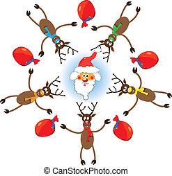vettore, reindeers, natale, santa