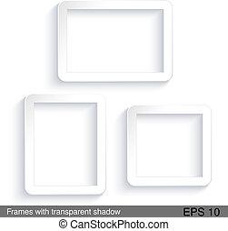 vettore, rettangolo, bianco, cornici, con, trasparente,...