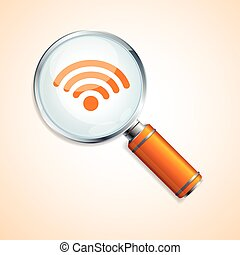 vettore, ricerca, wifi, concetto