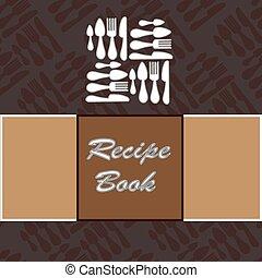 vettore, ricetta, book., sagoma
