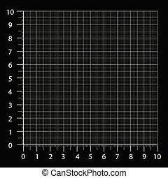 vettore, righello, grafico, serie, isolato, fondo., carta, nero, numeri, sagoma, misura, angolo, grid., misurato, trama